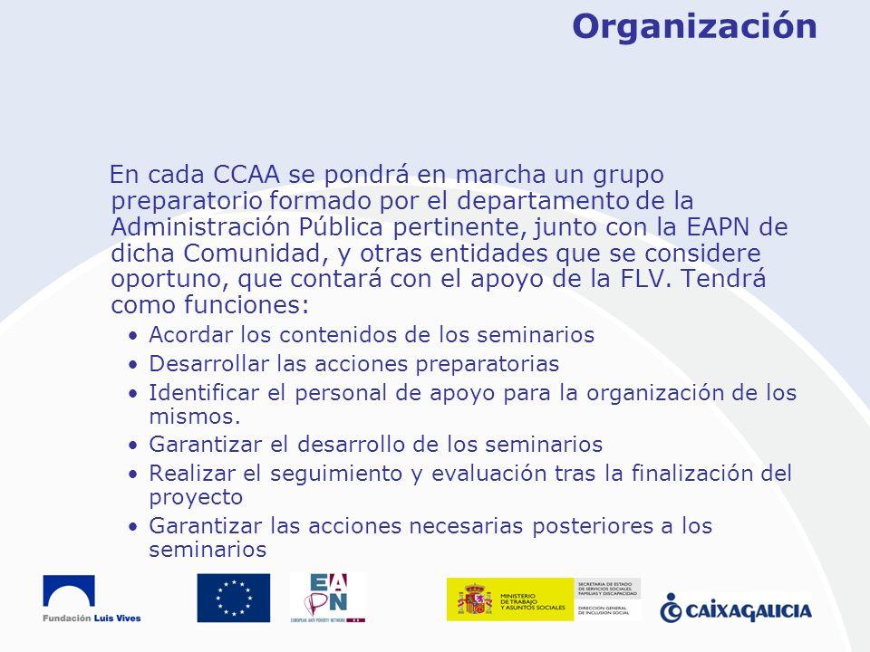 Organización En cada CCAA se pondrá en marcha un grupo preparatorio formado por el departamento de la Administración Pública pertinente, junto con la