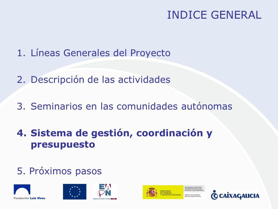 INDICE GENERAL 1.Líneas Generales del Proyecto 2.Descripción de las actividades 3.Seminarios en las comunidades autónomas 4.Sistema de gestión, coordi