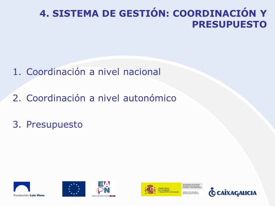 4. SISTEMA DE GESTIÓN: COORDINACIÓN Y PRESUPUESTO 1.Coordinación a nivel nacional 2.Coordinación a nivel autonómico 3.Presupuesto