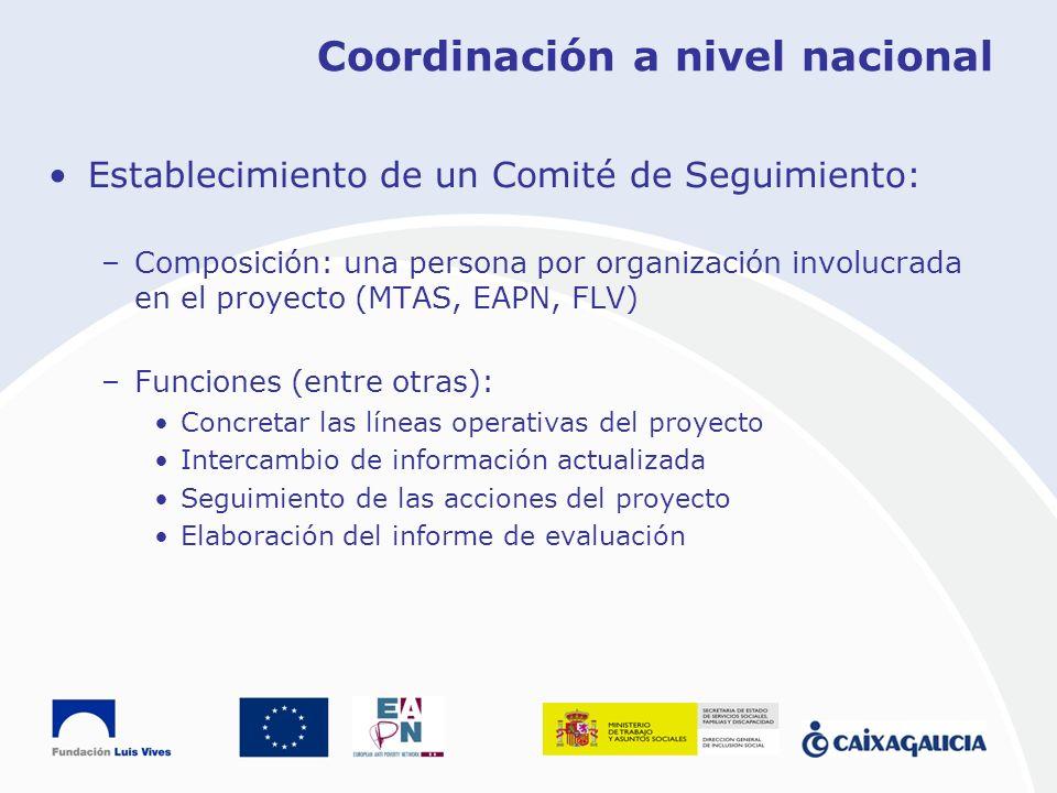 Coordinación a nivel nacional Establecimiento de un Comité de Seguimiento: –Composición: una persona por organización involucrada en el proyecto (MTAS