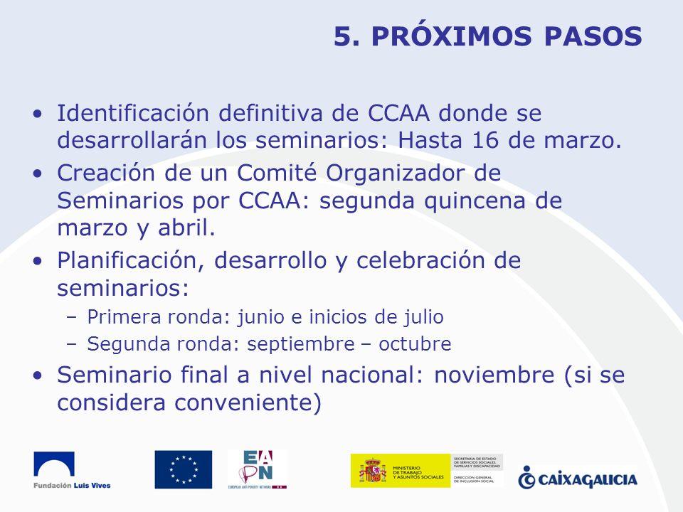 5. PRÓXIMOS PASOS Identificación definitiva de CCAA donde se desarrollarán los seminarios: Hasta 16 de marzo. Creación de un Comité Organizador de Sem