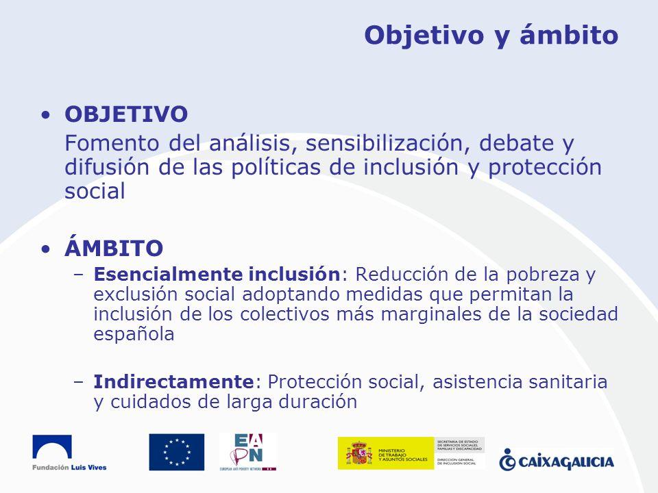 Objetivo y ámbito OBJETIVO Fomento del análisis, sensibilización, debate y difusión de las políticas de inclusión y protección social ÁMBITO –Esencial