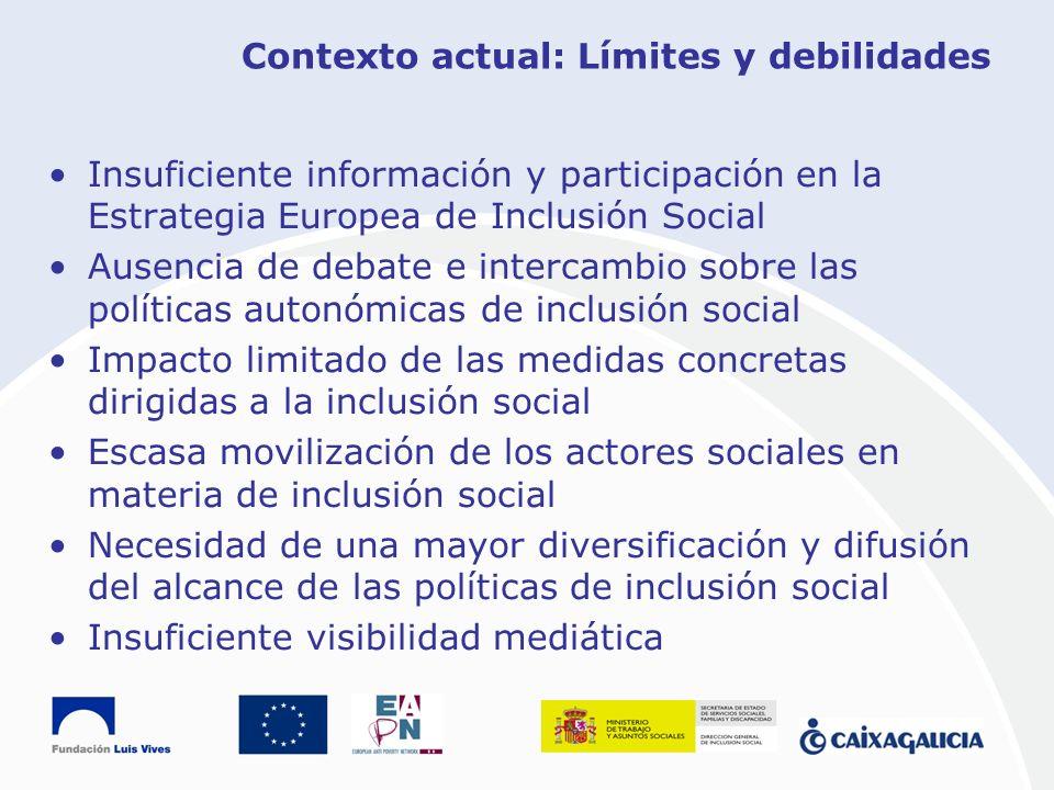 Contexto actual: Límites y debilidades Insuficiente información y participación en la Estrategia Europea de Inclusión Social Ausencia de debate e inte