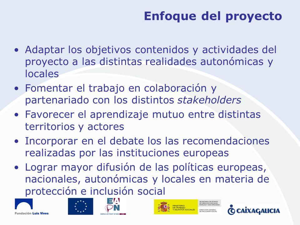 Enfoque del proyecto Adaptar los objetivos contenidos y actividades del proyecto a las distintas realidades autonómicas y locales Fomentar el trabajo