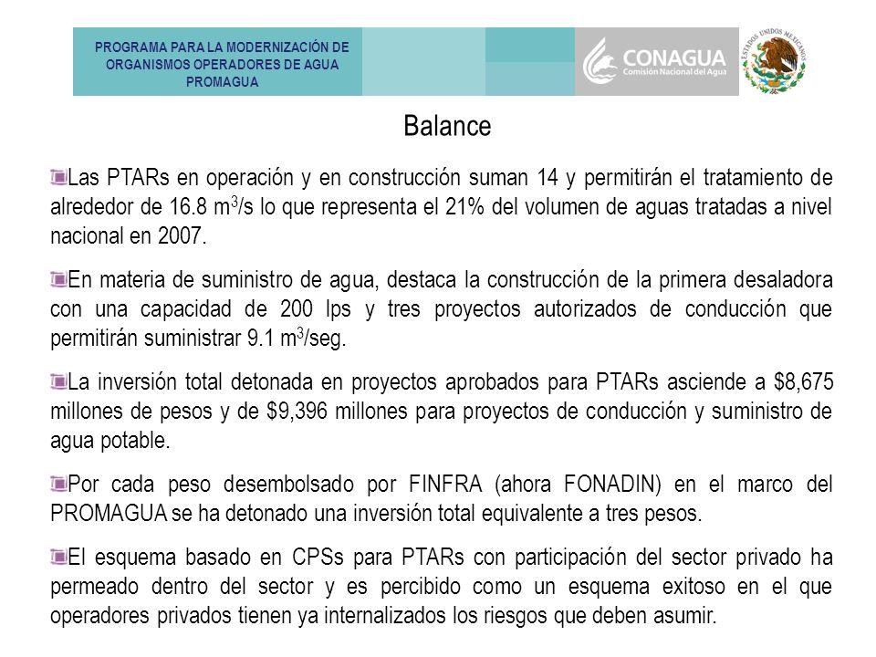 Las PTARs en operación y en construcción suman 14 y permitirán el tratamiento de alrededor de 16.8 m 3 /s lo que representa el 21% del volumen de aguas tratadas a nivel nacional en 2007.