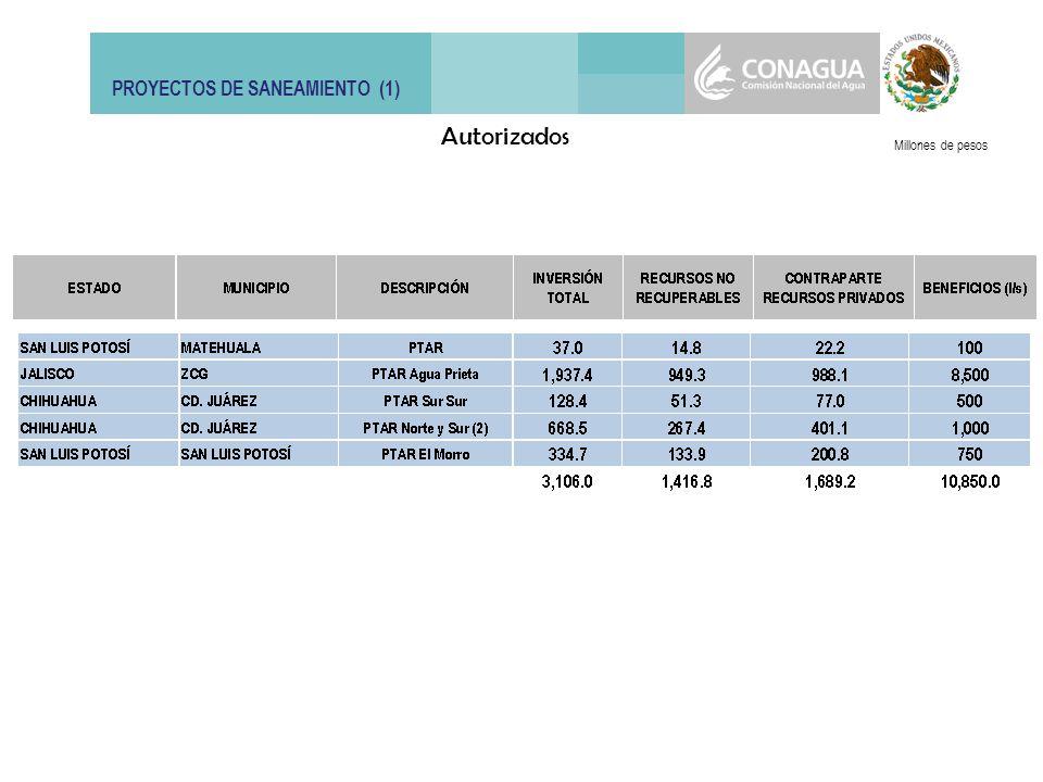 PROYECTOS DE SANEAMIENTO (2) Millones de pesos Susceptibles