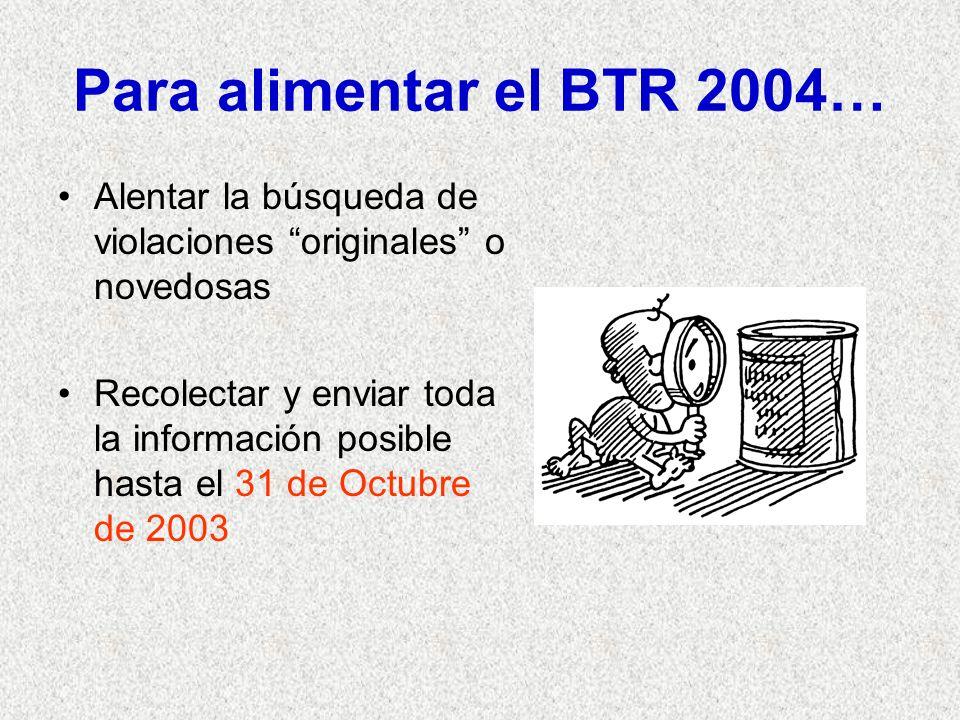 Para alimentar el BTR 2004… Alentar la búsqueda de violaciones originales o novedosas Recolectar y enviar toda la información posible hasta el 31 de Octubre de 2003