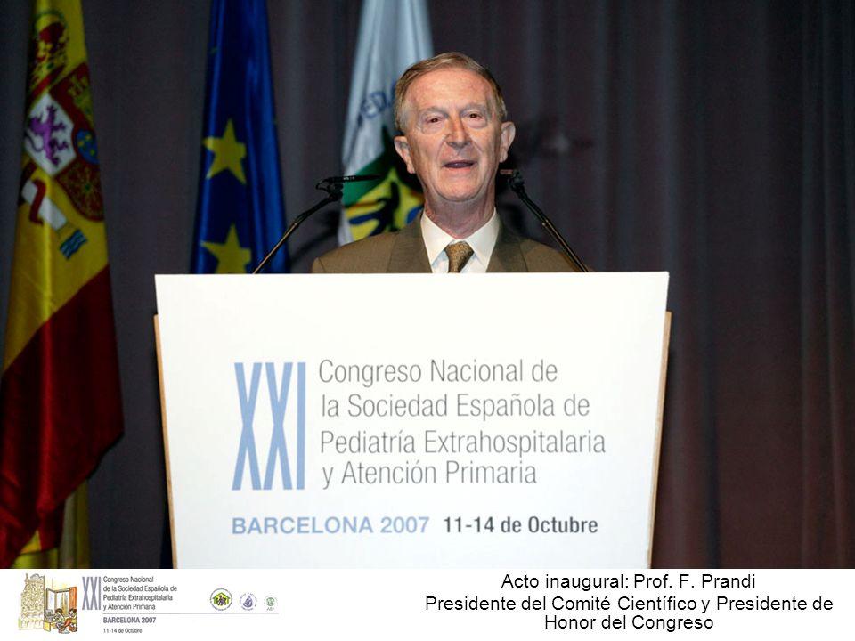Acto inaugural: Prof. F. Prandi Presidente del Comité Científico y Presidente de Honor del Congreso