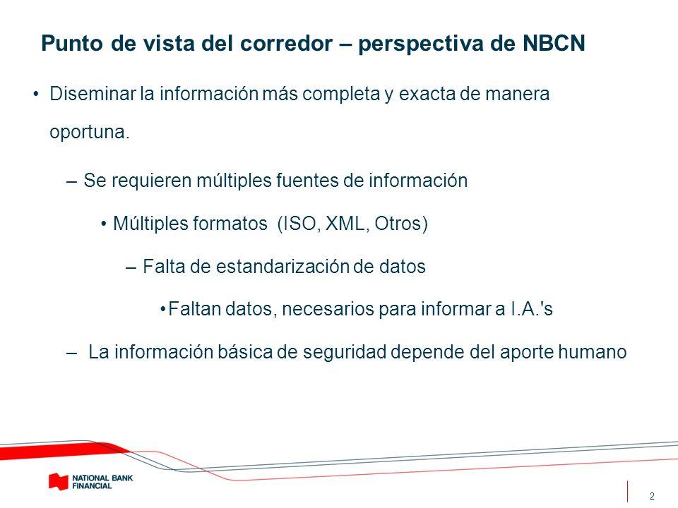 2 Punto de vista del corredor – perspectiva de NBCN Diseminar la información más completa y exacta de manera oportuna. –Se requieren múltiples fuentes