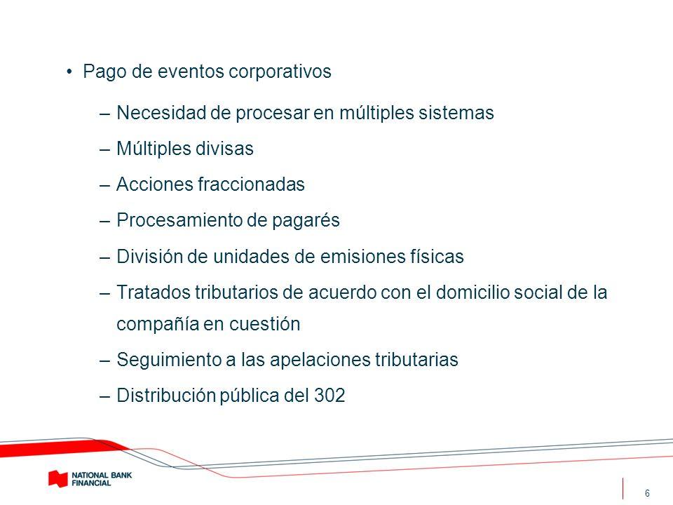 6 Pago de eventos corporativos –Necesidad de procesar en múltiples sistemas –Múltiples divisas –Acciones fraccionadas –Procesamiento de pagarés –Divis