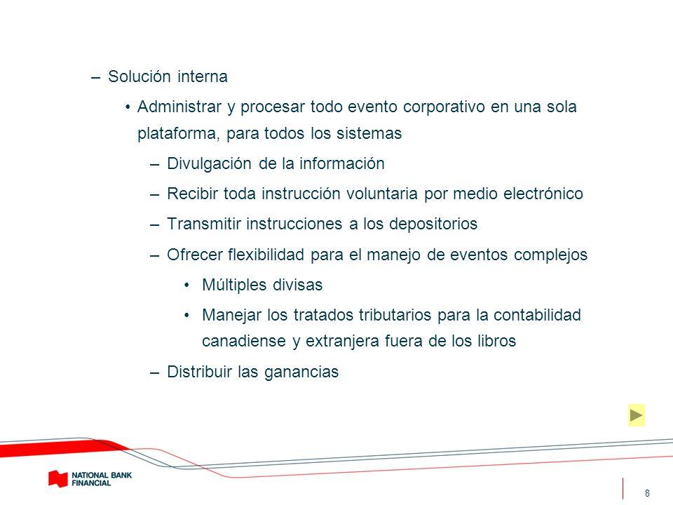 8 –Solución interna Administrar y procesar todo evento corporativo en una sola plataforma, para todos los sistemas –Divulgación de la información –Rec