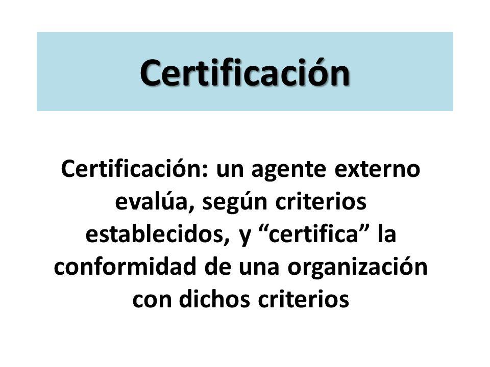 Certificación Certificación: un agente externo evalúa, según criterios establecidos, y certifica la conformidad de una organización con dichos criteri