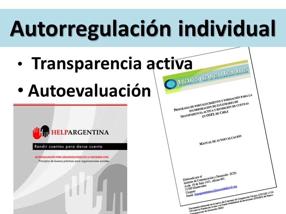 Autorregulación individual Transparencia activa Autoevaluación