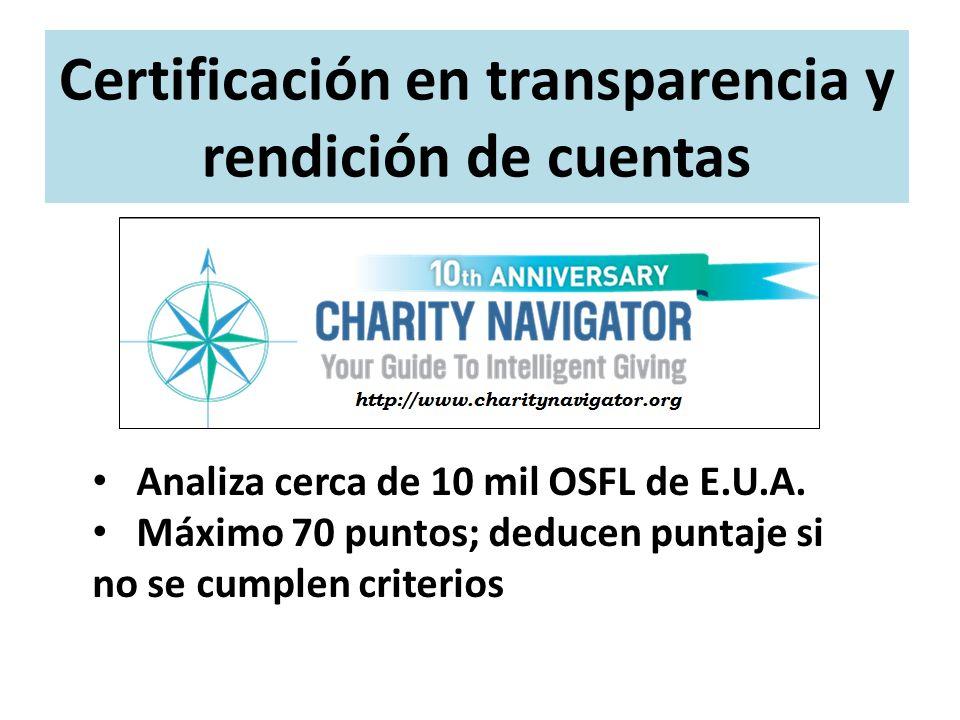 Certificación en transparencia y rendición de cuentas Analiza cerca de 10 mil OSFL de E.U.A. Máximo 70 puntos; deducen puntaje si no se cumplen criter