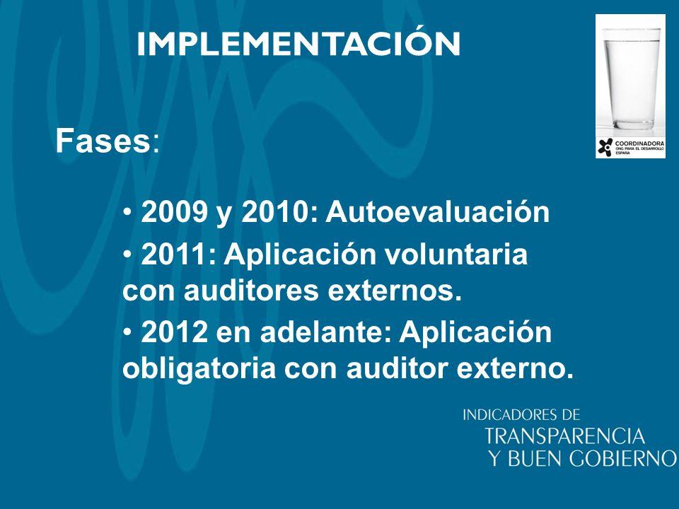 Fases: IMPLEMENTACIÓN 2009 y 2010: Autoevaluación 2011: Aplicación voluntaria con auditores externos. 2012 en adelante: Aplicación obligatoria con aud