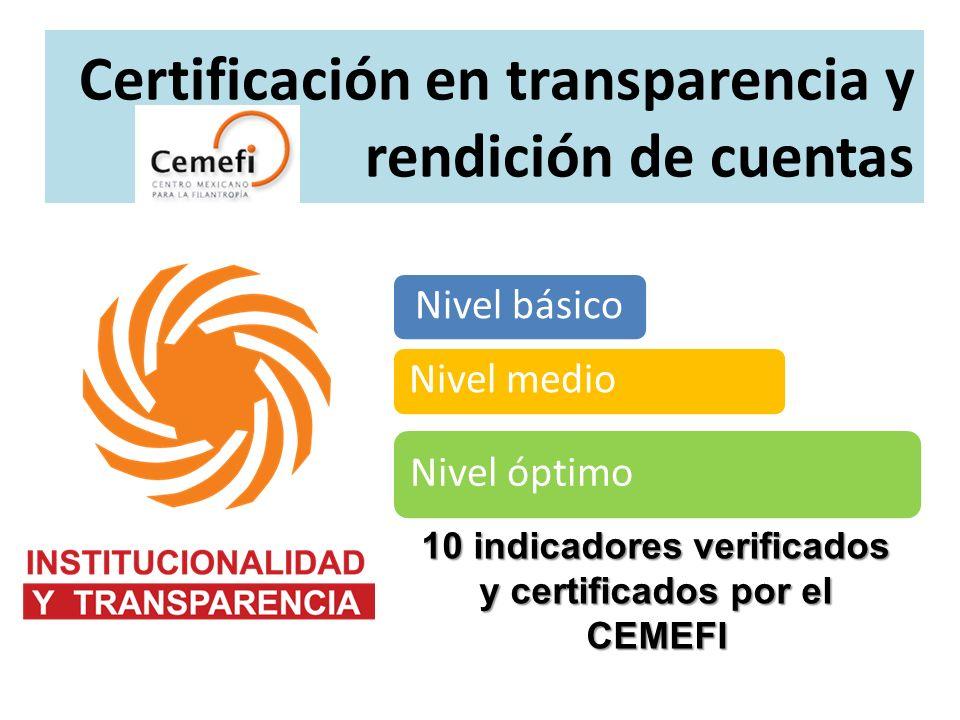 10 indicadores verificados y certificados por el CEMEFI Certificación en transparencia y rendición de cuentas Nivel básico Nivel medio Nivel óptimo