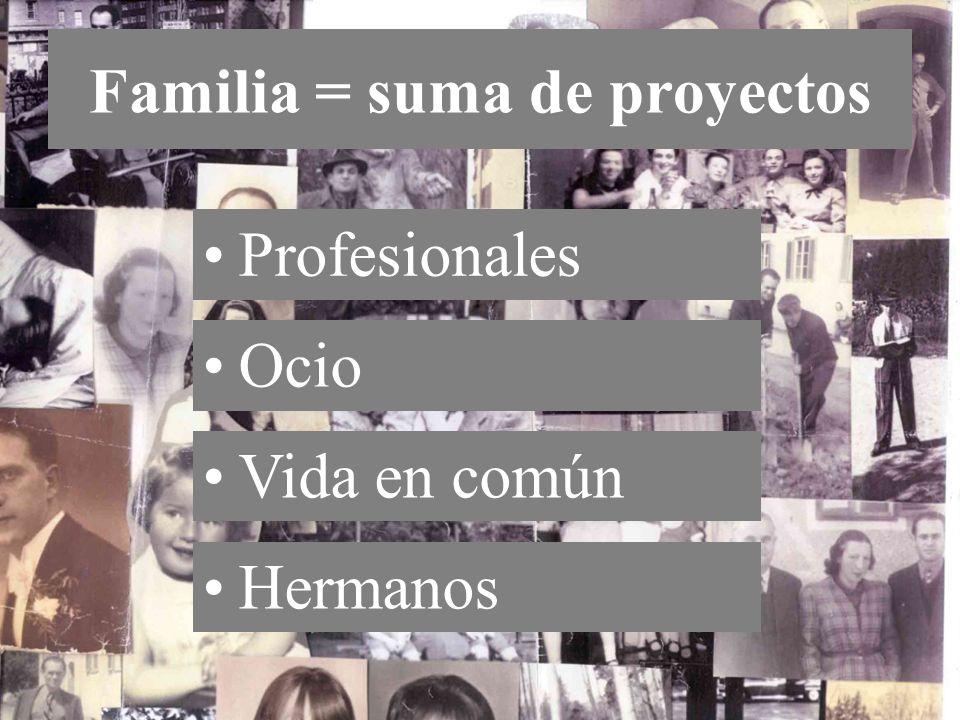 Artigas Pallarès, J Familia = suma de proyectos Ocio Vida en común Hermanos Profesionales