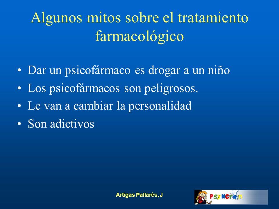Artigas Pallarès, J Algunos mitos sobre el tratamiento farmacológico Dar un psicofármaco es drogar a un niño Los psicofármacos son peligrosos. Le van
