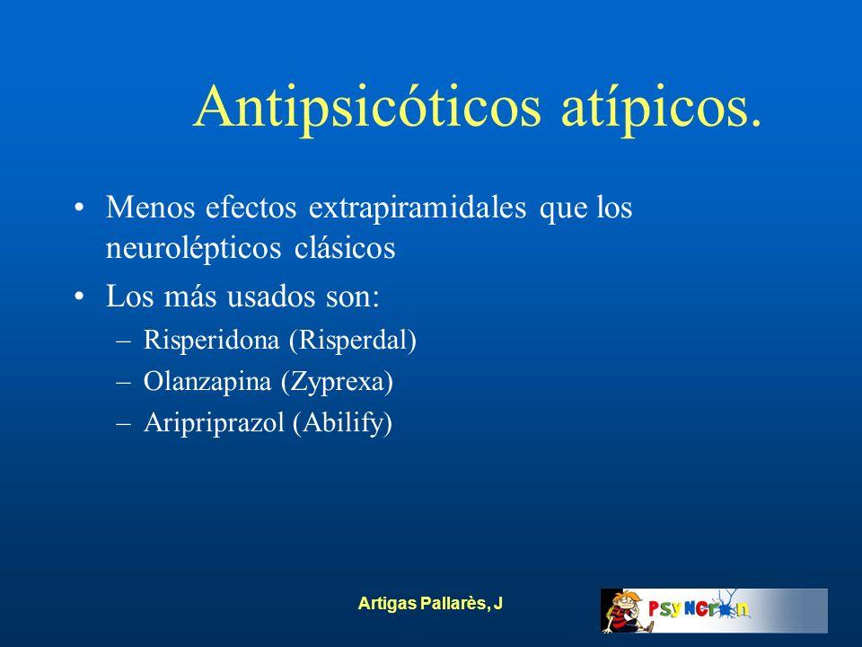Artigas Pallarès, J Antipsicóticos atípicos. Menos efectos extrapiramidales que los neurolépticos clásicos Los más usados son: –Risperidona (Risperdal