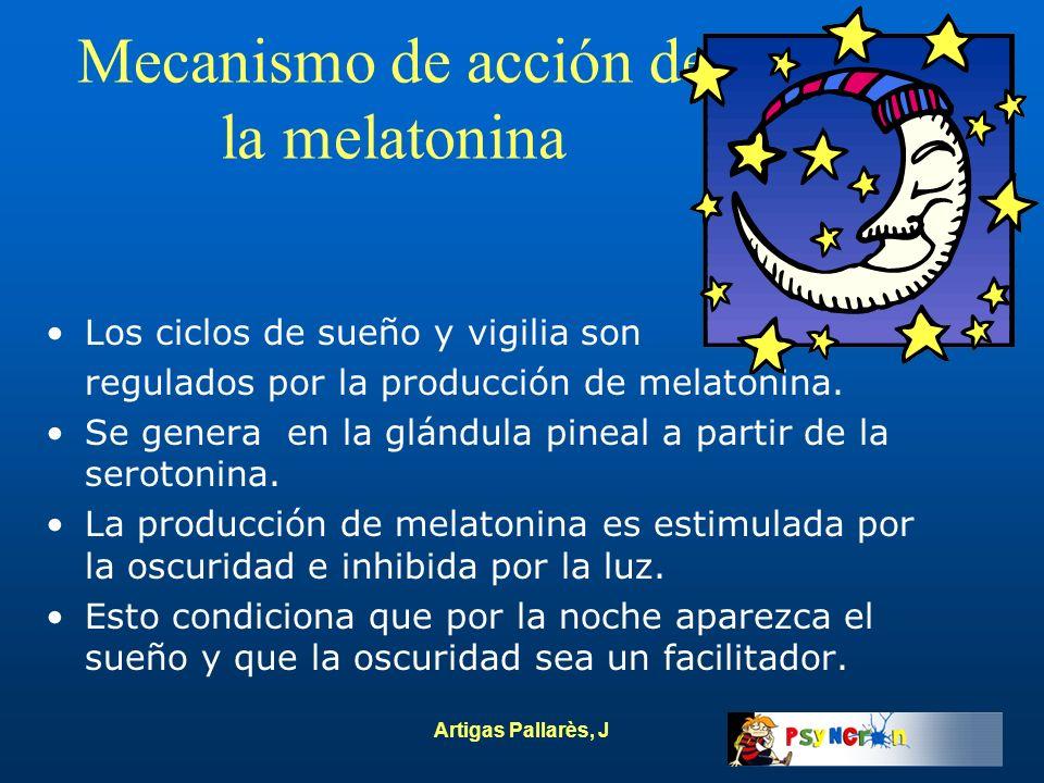 Artigas Pallarès, J Mecanismo de acción de la melatonina Los ciclos de sueño y vigilia son regulados por la producción de melatonina. Se genera en la