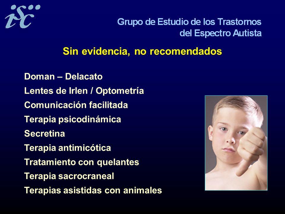 Sin evidencia, no recomendados Doman – Delacato Lentes de Irlen / Optometría Comunicación facilitada Terapia psicodinámica Secretina Terapia antimicót