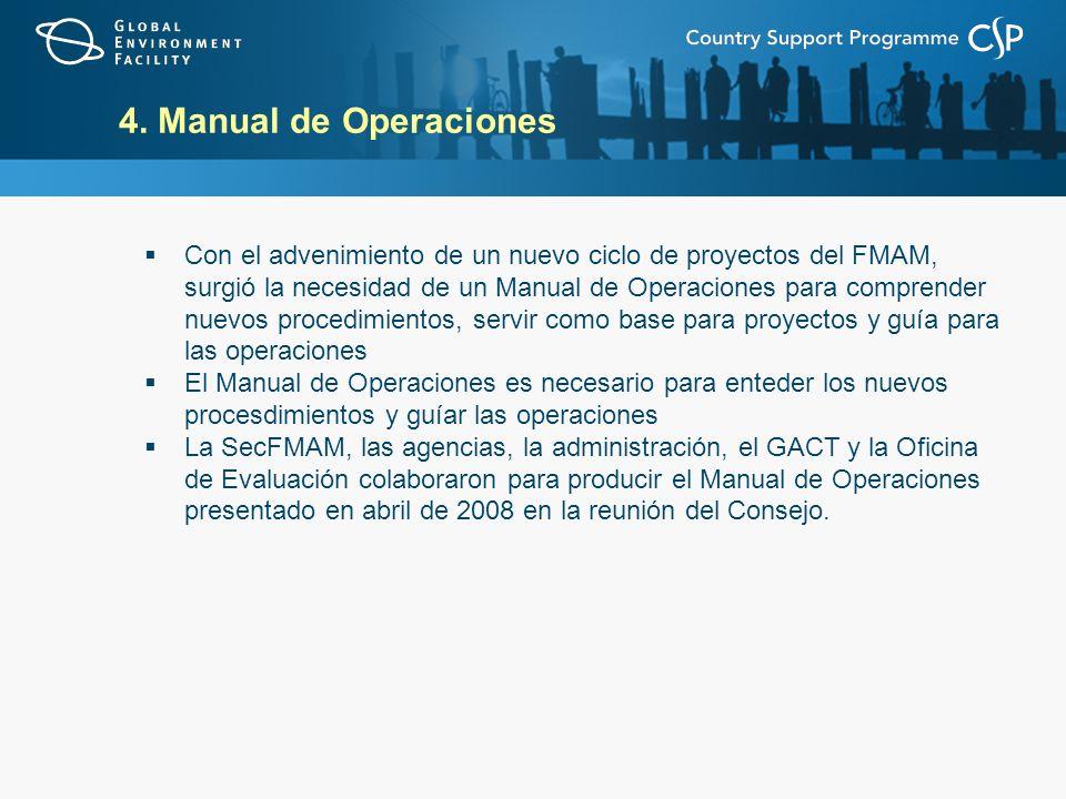 Con el advenimiento de un nuevo ciclo de proyectos del FMAM, surgió la necesidad de un Manual de Operaciones para comprender nuevos procedimientos, se