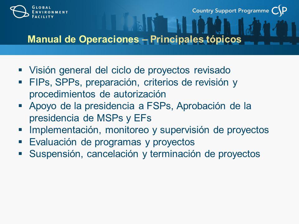 Visión general del ciclo de proyectos revisado FIPs, SPPs, preparación, criterios de revisión y procedimientos de autorización Apoyo de la presidencia