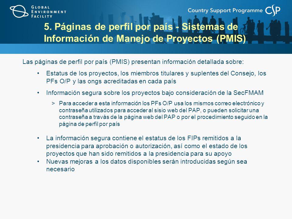 5. Páginas de perfil por país - Sistemas de Información de Manejo de Proyectos (PMIS) Las páginas de perfil por país (PMIS) presentan información deta