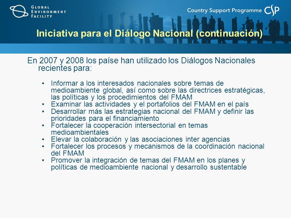 Iniciativa para el Diálogo Nacional (continuación) En 2007 y 2008 los paíse han utilizado los Diálogos Nacionales recientes para: Informar a los inter