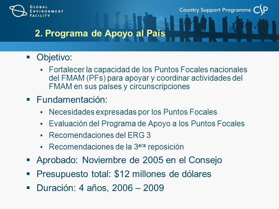 2. Programa de Apoyo al País Objetivo: Fortalecer la capacidad de los Puntos Focales nacionales del FMAM (PFs) para apoyar y coordinar actividades del