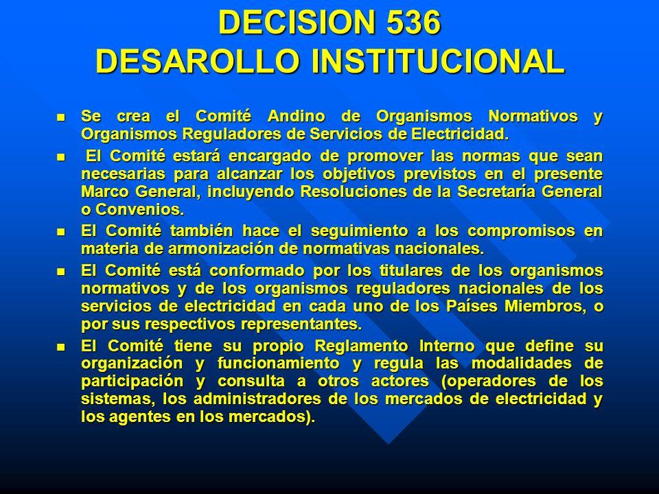 DECISION 536 DESAROLLO INSTITUCIONAL Se crea el Comité Andino de Organismos Normativos y Organismos Reguladores de Servicios de Electricidad. Se crea