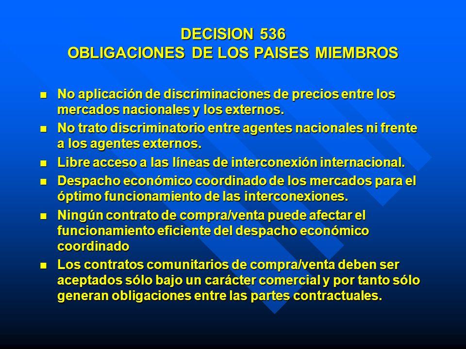 DECISION 536 OBLIGACIONES DE LOS PAISES MIEMBROS No aplicación de discriminaciones de precios entre los mercados nacionales y los externos. No aplicac