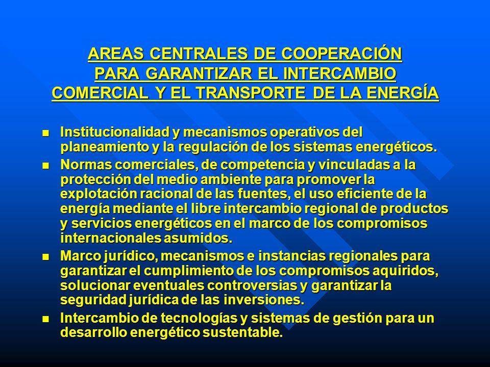 AREAS CENTRALES DE COOPERACIÓN PARA GARANTIZAR EL INTERCAMBIO COMERCIAL Y EL TRANSPORTE DE LA ENERGÍA Institucionalidad y mecanismos operativos del pl