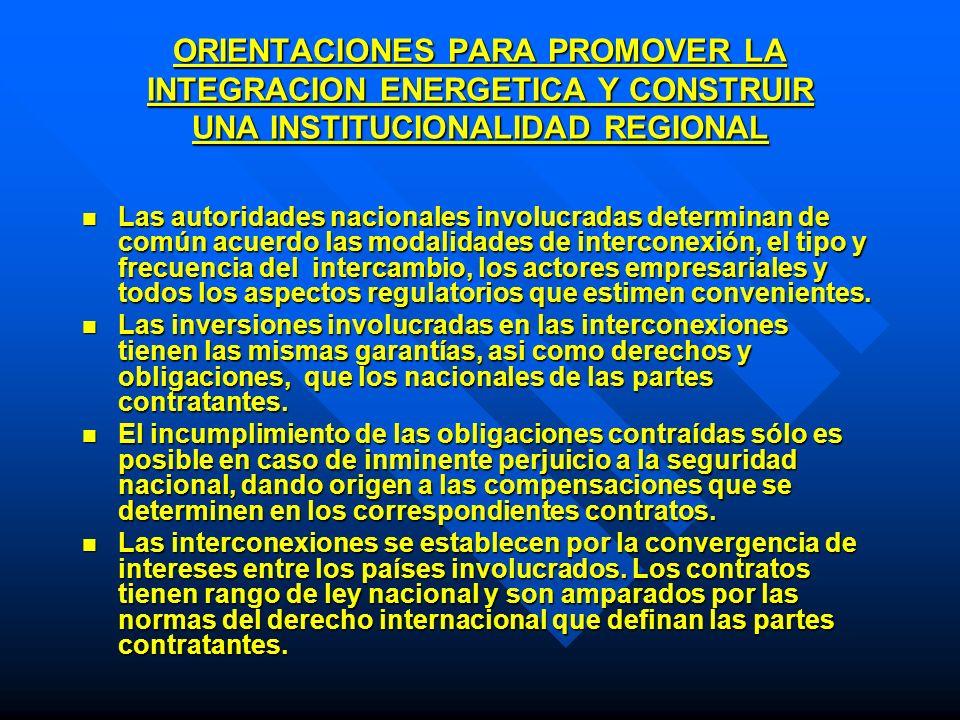 ORIENTACIONES PARA PROMOVER LA INTEGRACION ENERGETICA Y CONSTRUIR UNA INSTITUCIONALIDAD REGIONAL Las autoridades nacionales involucradas determinan de