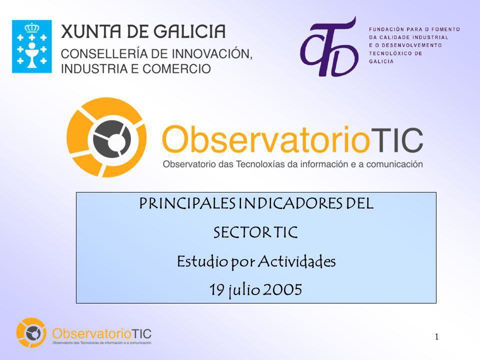 1 PRINCIPALES INDICADORES DEL SECTOR TIC Estudio por Actividades 19 julio 2005