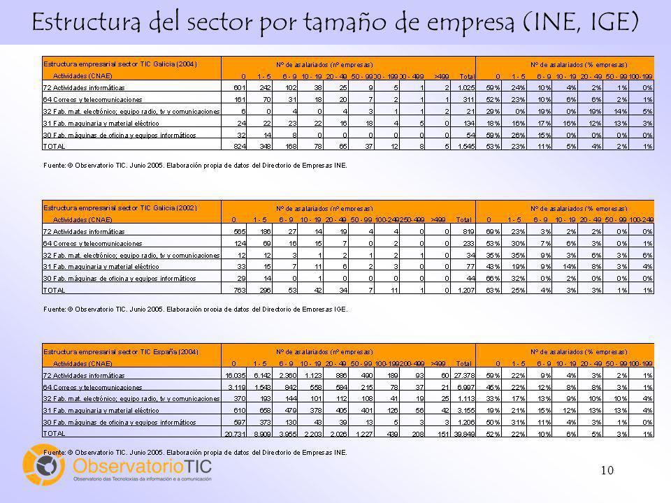 10 Estructura del sector por tamaño de empresa (INE, IGE)