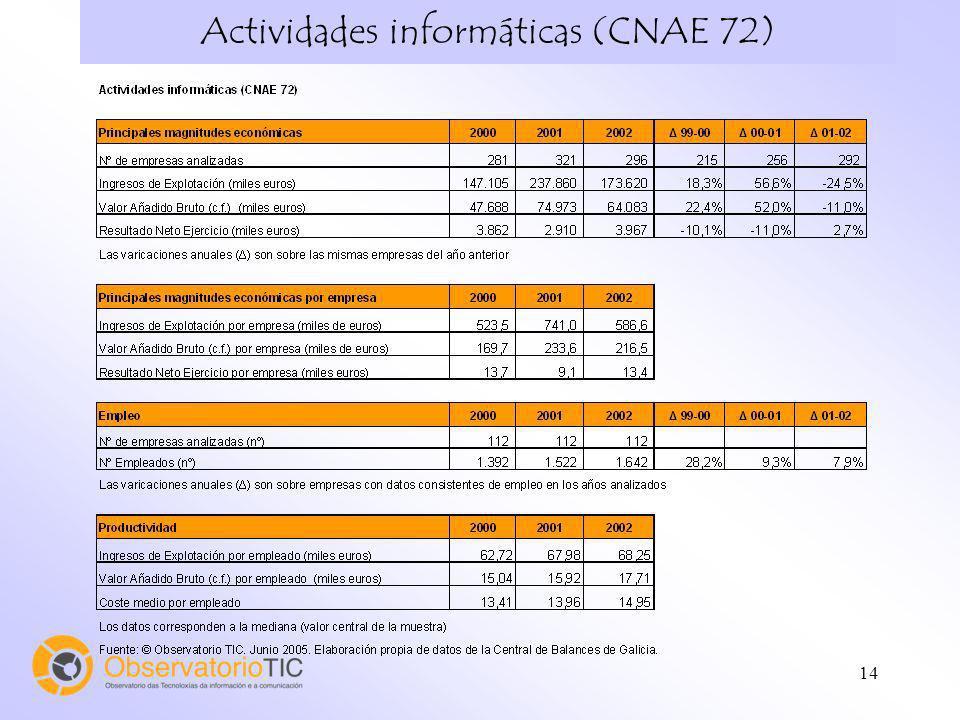 14 Actividades informáticas (CNAE 72)