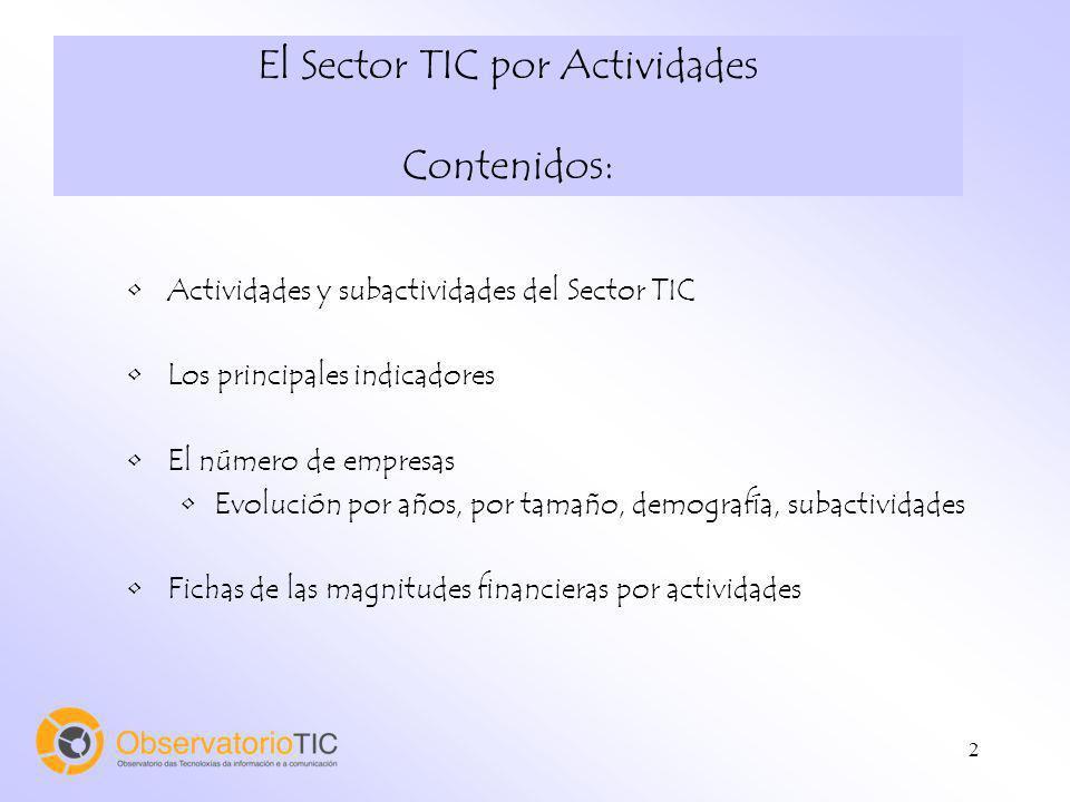 2 El Sector TIC por Actividades Contenidos: Actividades y subactividades del Sector TIC Los principales indicadores El número de empresas Evolución po