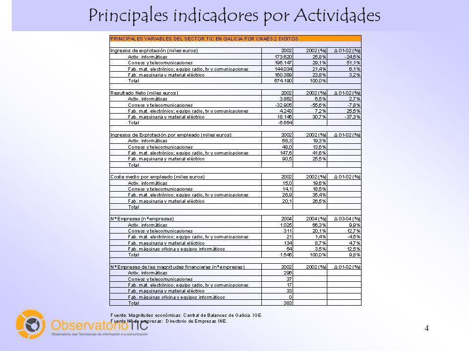 4 Principales indicadores por Actividades