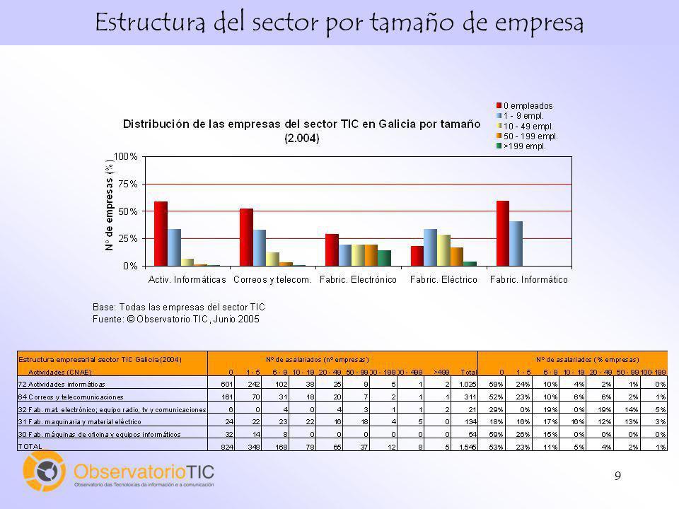 9 Estructura del sector por tamaño de empresa