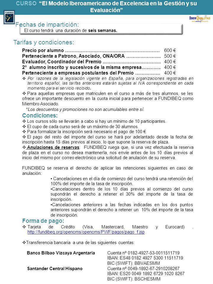 Tarifas y condiciones: Precio por alumno ……………………………………………………600 Perteneciente a Patrono, Asociado, ONA/ORA ………………….500 Evaluador, Coordinador del Pre