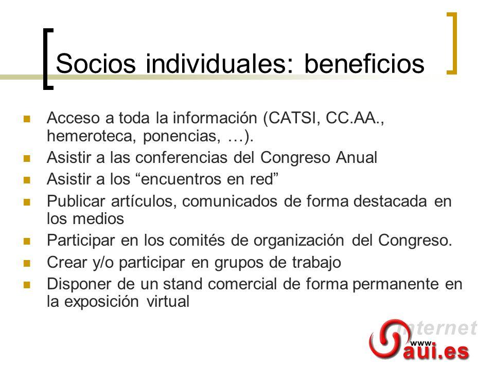 Socios individuales: beneficios Acceso a toda la información (CATSI, CC.AA., hemeroteca, ponencias, …). Asistir a las conferencias del Congreso Anual