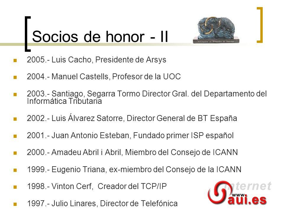 Socios de honor - II 2005.- Luis Cacho, Presidente de Arsys 2004.- Manuel Castells, Profesor de la UOC 2003.- Santiago, Segarra Tormo Director Gral. d