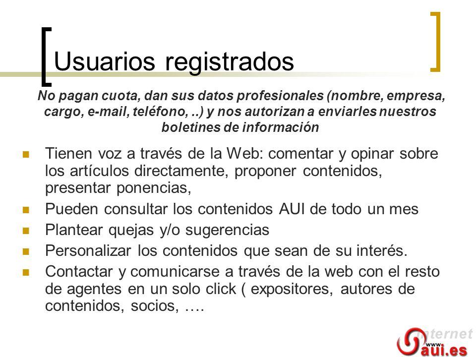 Usuarios registrados Tienen voz a través de la Web: comentar y opinar sobre los artículos directamente, proponer contenidos, presentar ponencias, Pued