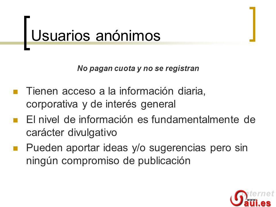 Usuarios anónimos Tienen acceso a la información diaria, corporativa y de interés general El nivel de información es fundamentalmente de carácter divu