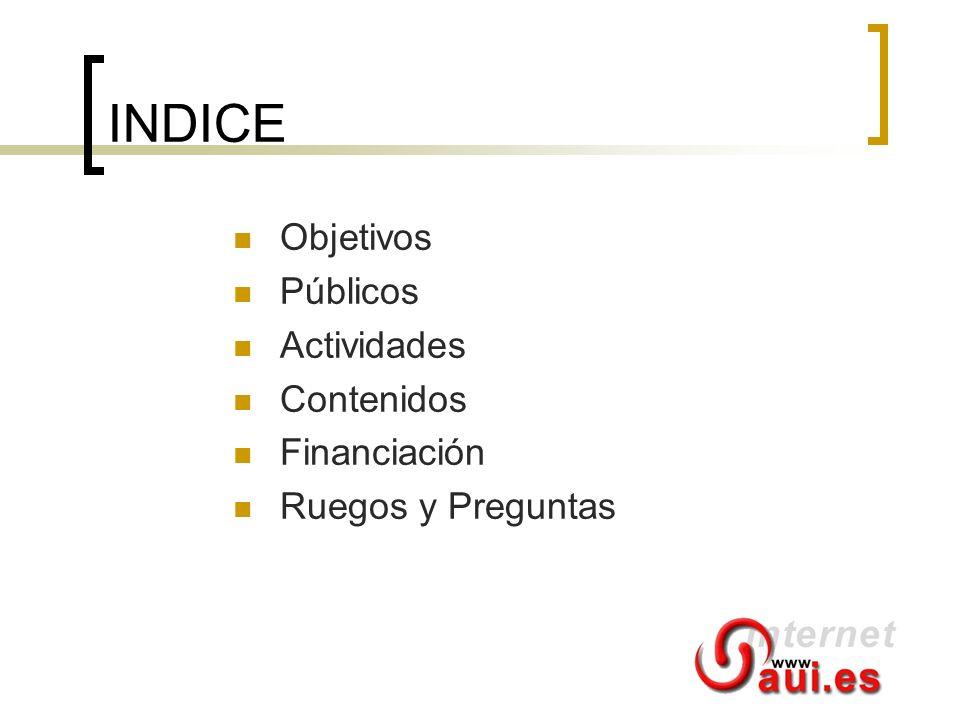 INDICE Objetivos Públicos Actividades Contenidos Financiación Ruegos y Preguntas