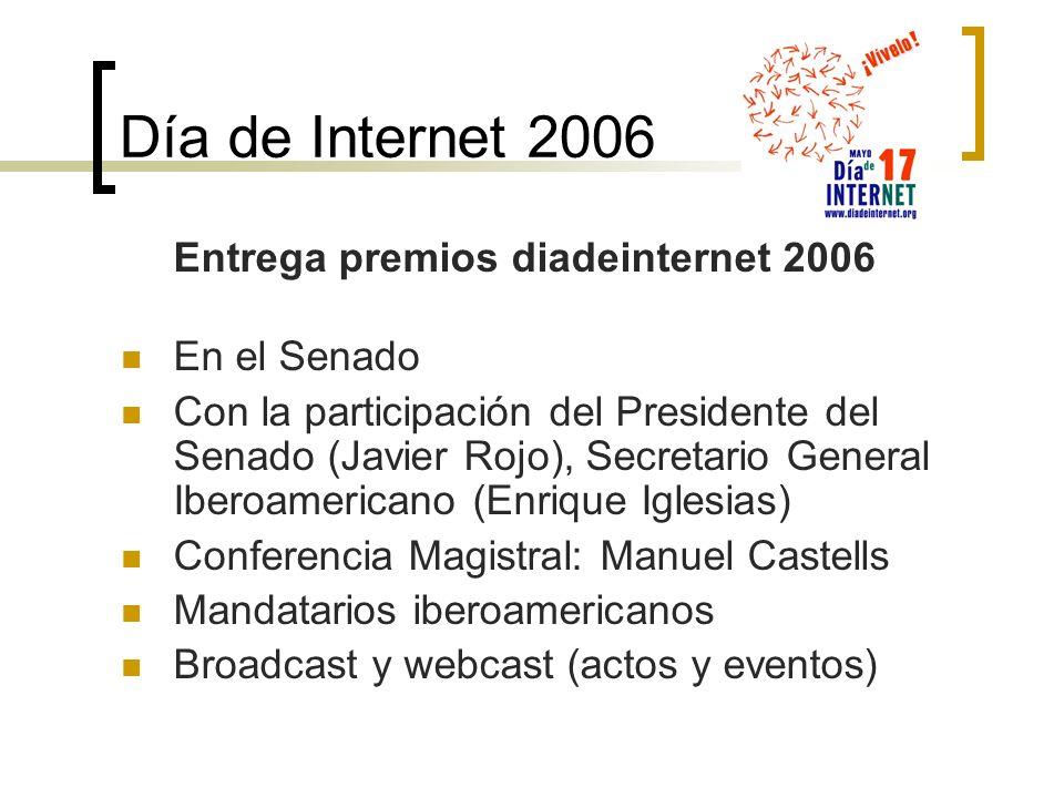 Día de Internet 2006 Entrega premios diadeinternet 2006 En el Senado Con la participación del Presidente del Senado (Javier Rojo), Secretario General