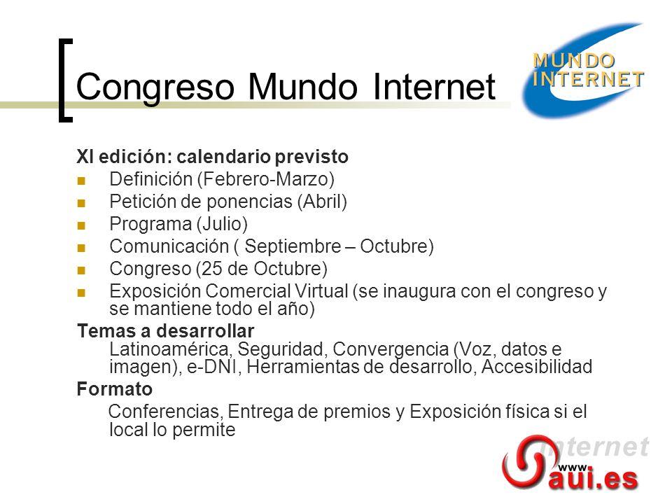 Congreso Mundo Internet XI edición: calendario previsto Definición (Febrero-Marzo) Petición de ponencias (Abril) Programa (Julio) Comunicación ( Septi