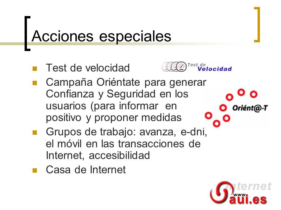 Acciones especiales Test de velocidad Campaña Oriéntate para generar Confianza y Seguridad en los usuarios (para informar en positivo y proponer medid