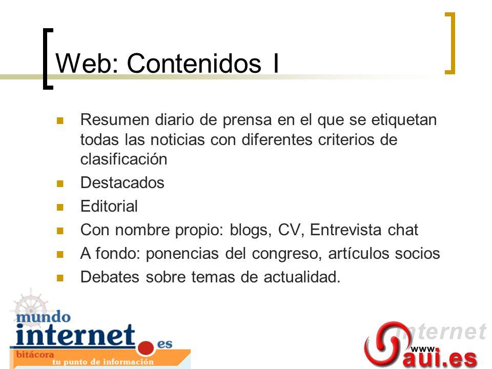 Web: Contenidos I Resumen diario de prensa en el que se etiquetan todas las noticias con diferentes criterios de clasificación Destacados Editorial Co